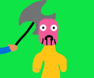 Pink thanos gets hit with an axe