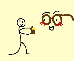 Man marries a brown pair of glasses