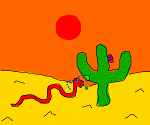 snake bites down on cactus and cries