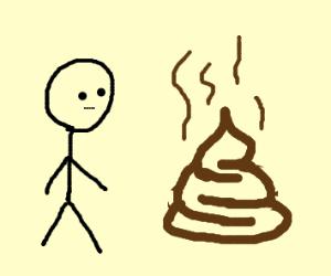 man looks at poop