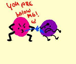 a purple ball spitting flesh on a pink ball
