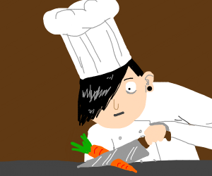 Emo chef cutting a carrot