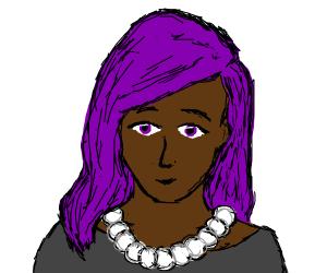 Black lady. Purple hair&eyes. Pearl necklace.