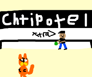 Garfield when guac is extra