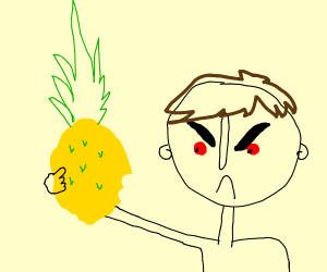 man IS ANGRY EATS PINEAPPLE