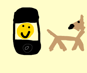 Telephon, but with pictures. A dog.