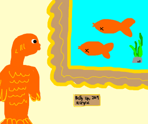 Humanoid Fish looks at Painting of dead fish