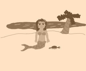 mermaid in a desert