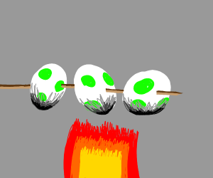 yoshi kebab roasting over a fire