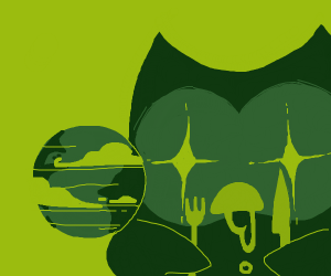 Duolingo Bird eats the world