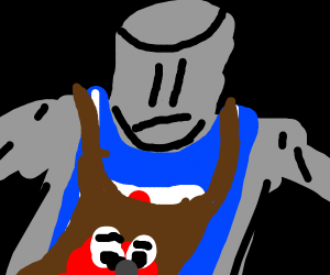 Knight with an elmo apron