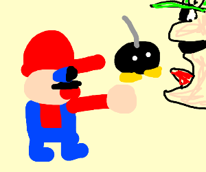Mario throws a Bob-Omb