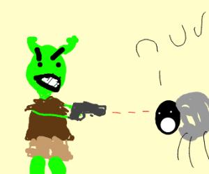 Shrek shoots a sheep