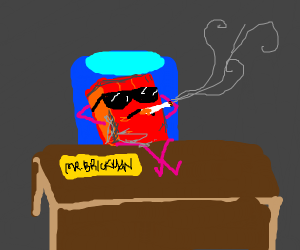 brick man smoking like a boss