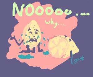 sentient lemon sees buddy cut in half
