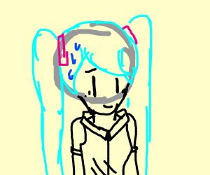 A distressed hatsune miku