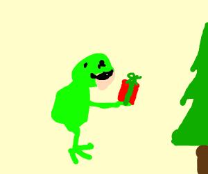 Frog getting it's Christmas present (I<3frog)
