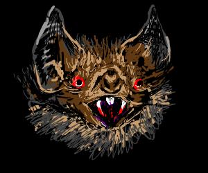 Head of bat w/ bloodshot eyes & bloody fangs