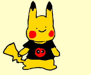 pikachu wearing deadpool t-shirt