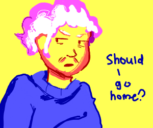Old Woman questions if she should go home