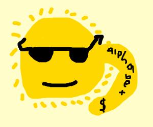 Sun that got a tatoo of the alphabet & $