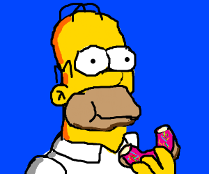 Man eating donut happily