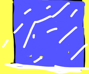 blue frosted window on yellow bckgrnd