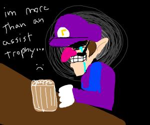 waluigi drinking his sorrow away