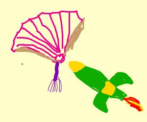 rocket flies into paper fan