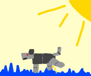 Robot dog pees on blue grass