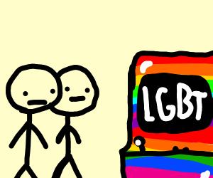 2 friends look at a LGBT arcade machine