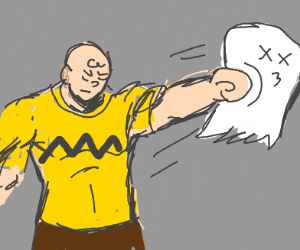 Charlie Brown punches a ghost