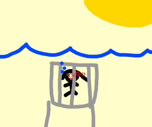 Girl drowning in a cage