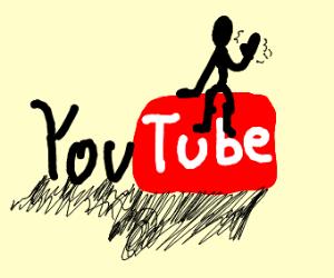 A man on the YouTube logo.