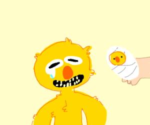 Yellmo meets his baby