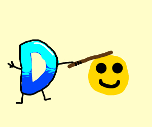 Drawception whacking an Emoji with a stick