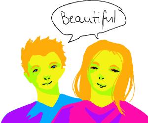 2 gingerbread people saying beautiful