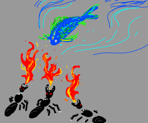 Fire spitting ants fighting a fish