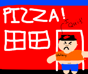 Fat pizza-delivery guy walks out