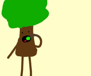 tree man (not groot) eats small gren apple