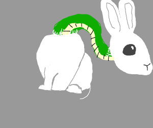 White bunny with long green snake neck