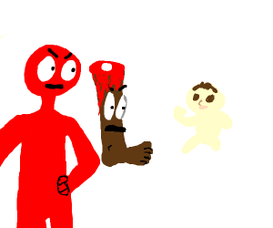red man and severed leg screaming at a baby