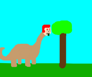 Dinosaur with a human head eats leaves