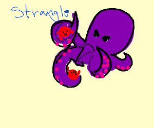 A giant octopus strangles two crabs