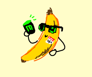 banana drinking mountain dew