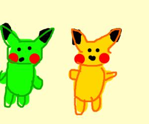 Green pikachu meets another pikachu
