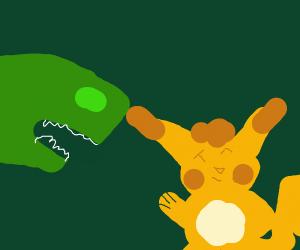 Pikachu waves at Dinosaur.