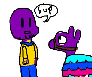Thanos meets fortnite Llama