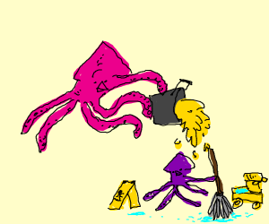 Squid dumps pee on small squid who is mopping