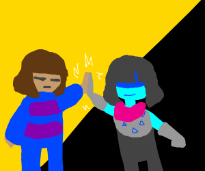 Frisk high-fives Kris! (Undertale/Deltarune)